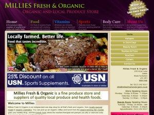 Millies Fresh and Organic website