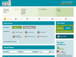 Avanti Travel Insurance website