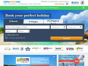 There are 2 alpharooms coupons for you to consider including 2 sales. Most popular now: Book You Perfect Holiday with alpharooms Today!. Latest offer: Find the Best Fare & 80%(5).