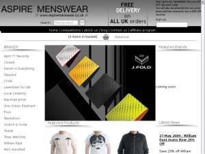 Aspire Menswear website