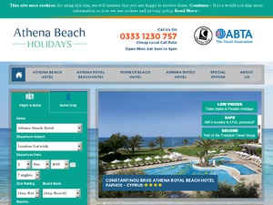 Athena Beach Holidays website