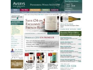 Averys Wine Merchants website