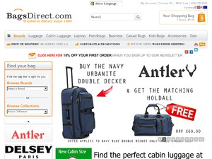 Bags Direct website