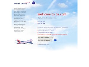 British Airways Holidays website