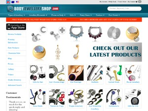Body Jewellery Shop website