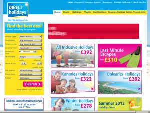 Direct Holidays website