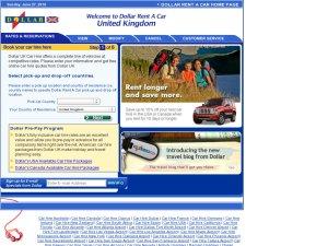Dollar Car Rental website