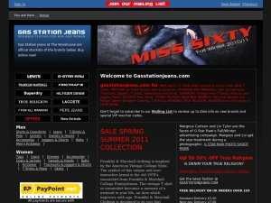 Gas Station Jeans website