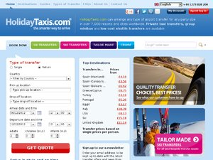 Holiday Taxis website
