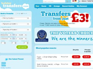 Holiday Transfers website