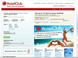 Hotel Club website