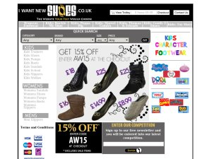 I Want New Shoes website