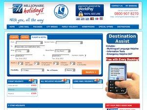 Millionaire Holidays website