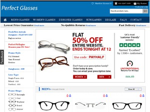 Perfect Glasses website