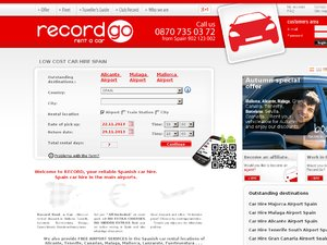 Record Rent a Car website