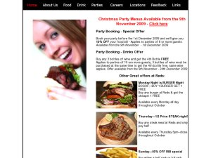 Reds Bar and Grill website