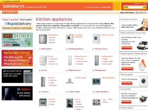 Sainsburys Kitchen Appliances website