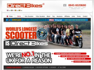 Direct Bikes Scooters website