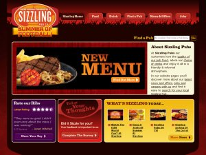 Sizzling Pubs website