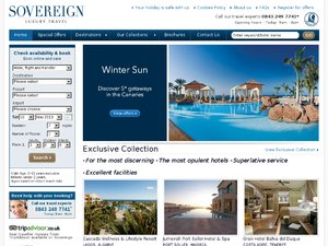Sovereign Luxury Travel website