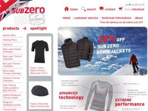 Sub Zero Store website