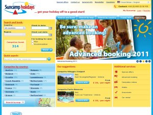 Suncamp Holidays GB website