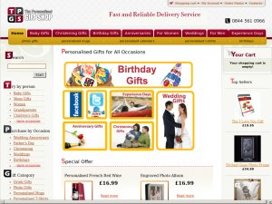 The Personalised Gift Shop website