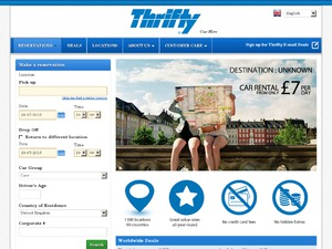 Thrifty Car Rental website