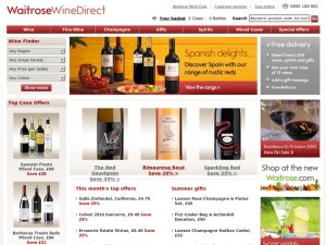 Waitrose Wine Direct website